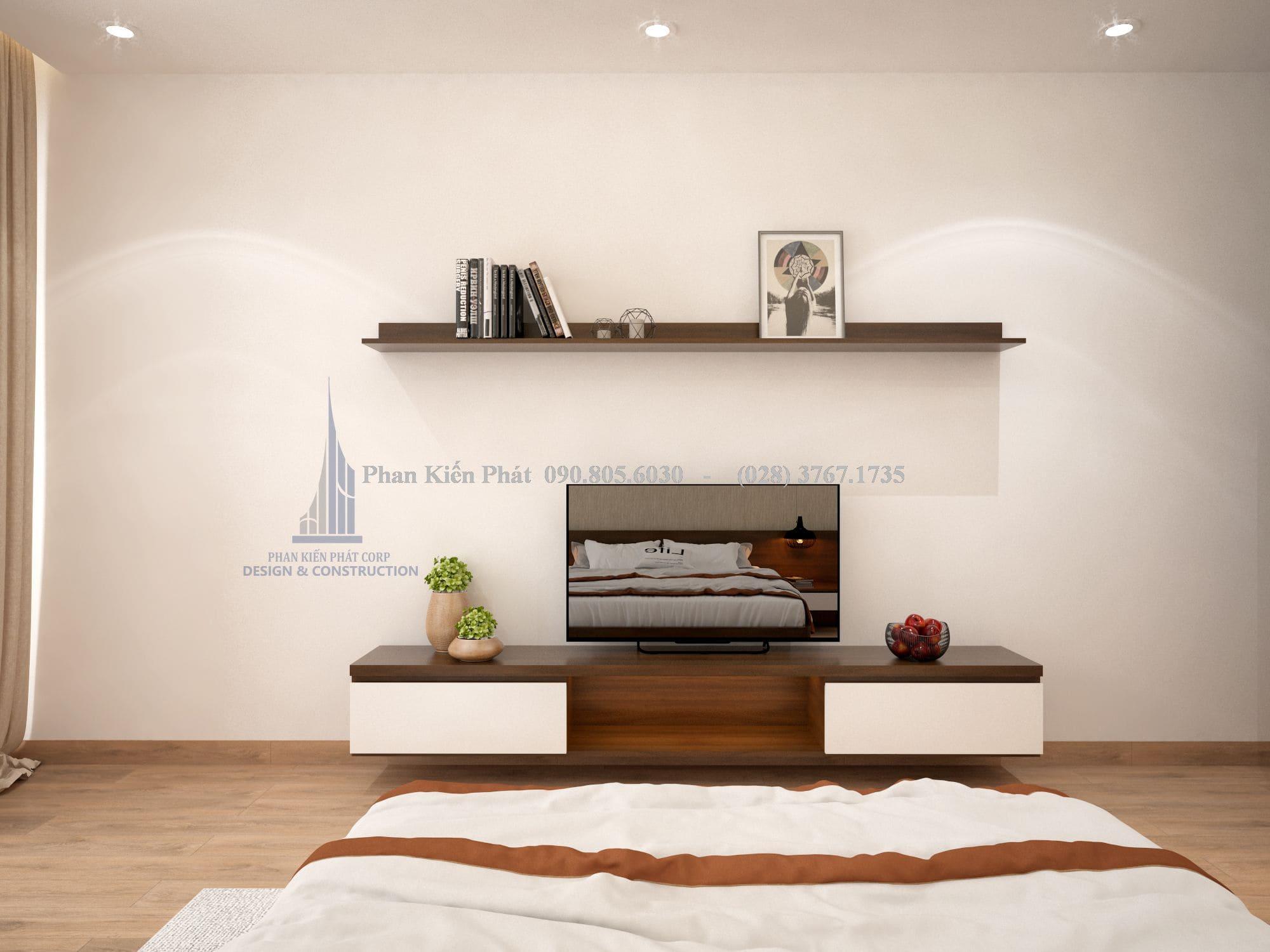Phòng ngủ đơn giản nhưng gọn gàng và tinh tế
