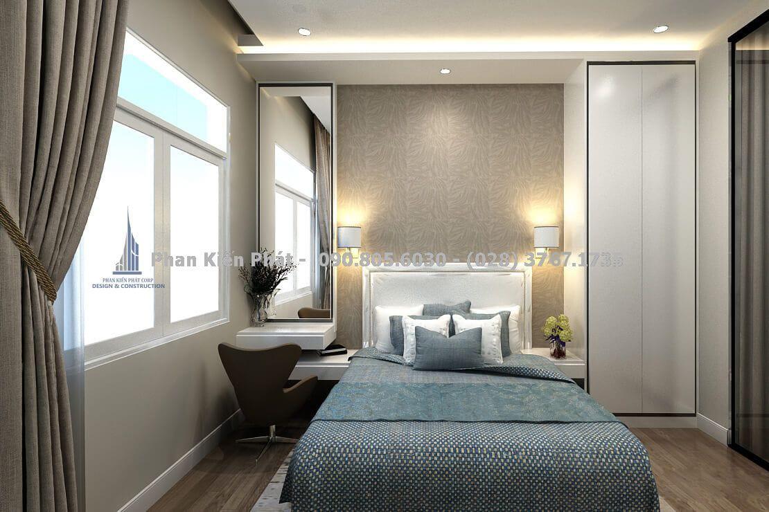 Phòng ngủ master tràn ngập ánh sáng tự nhiên với cách bố trí đơn giản