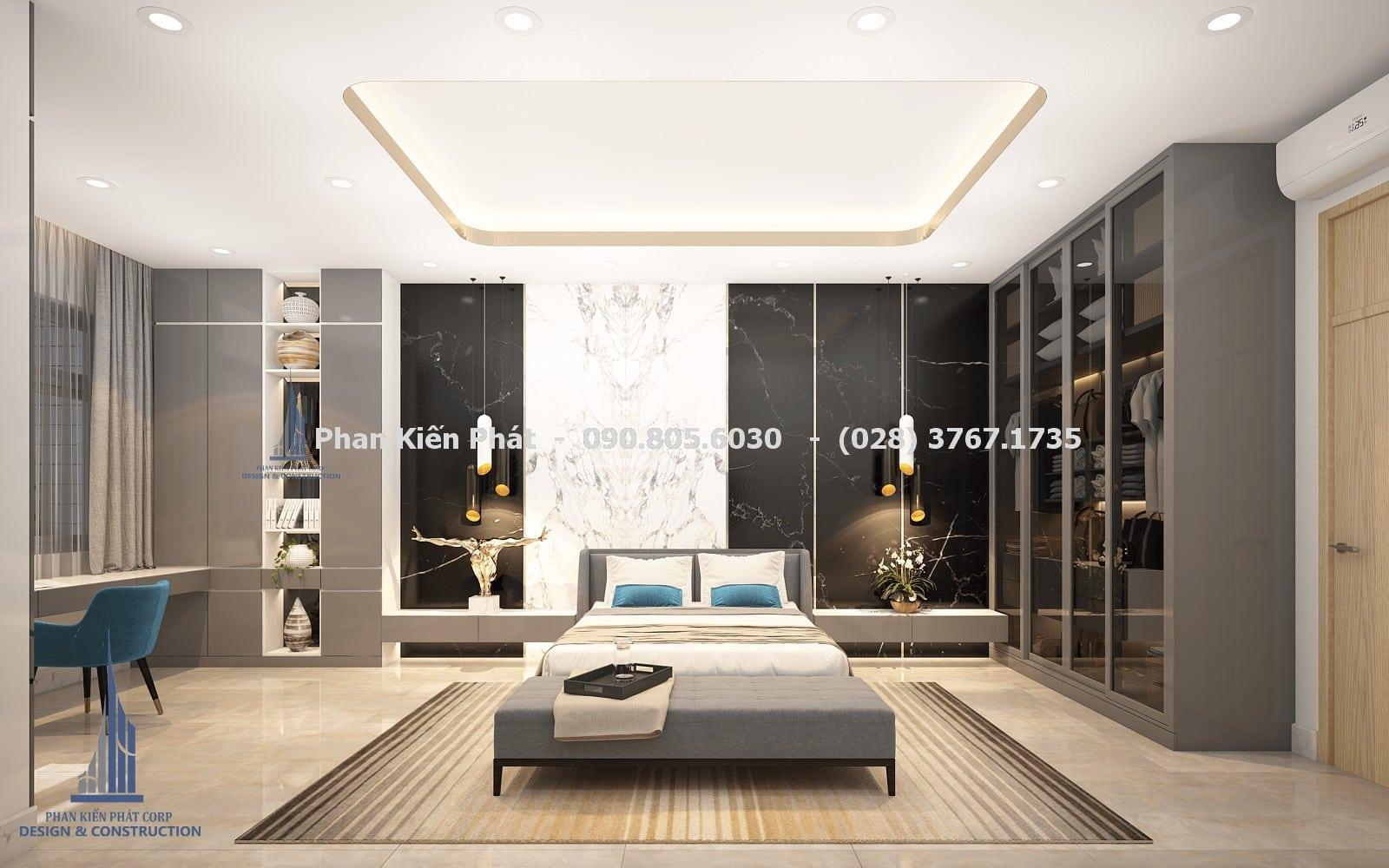 Thiết kế phòng ngủ nam đẹp với mẫu biệt thự phố 5 tầng góc 1
