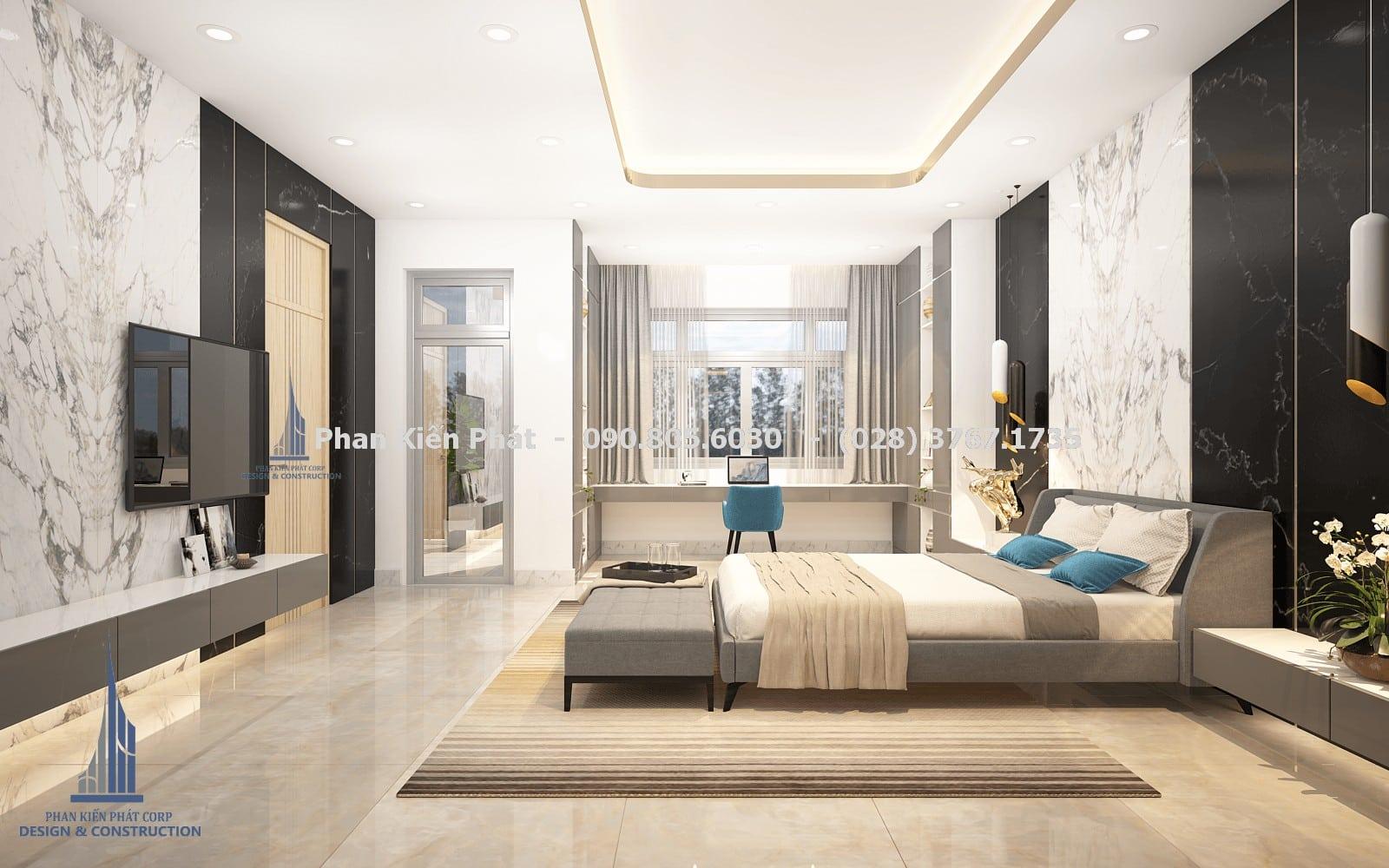 Thiết kế phòng ngủ nam đẹp với mẫu biệt thự phố 5 tầng góc 2