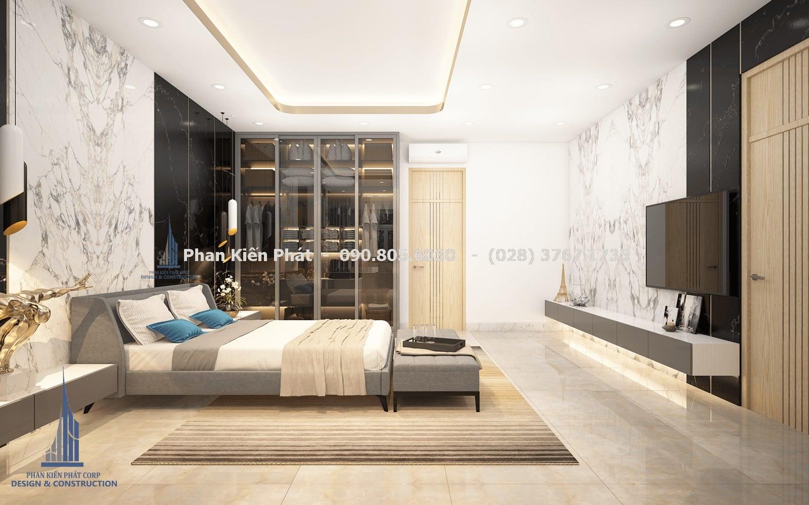 Thiết kế phòng ngủ nam 1 đẹp với mẫu biệt thự phố 5 tầng góc 3