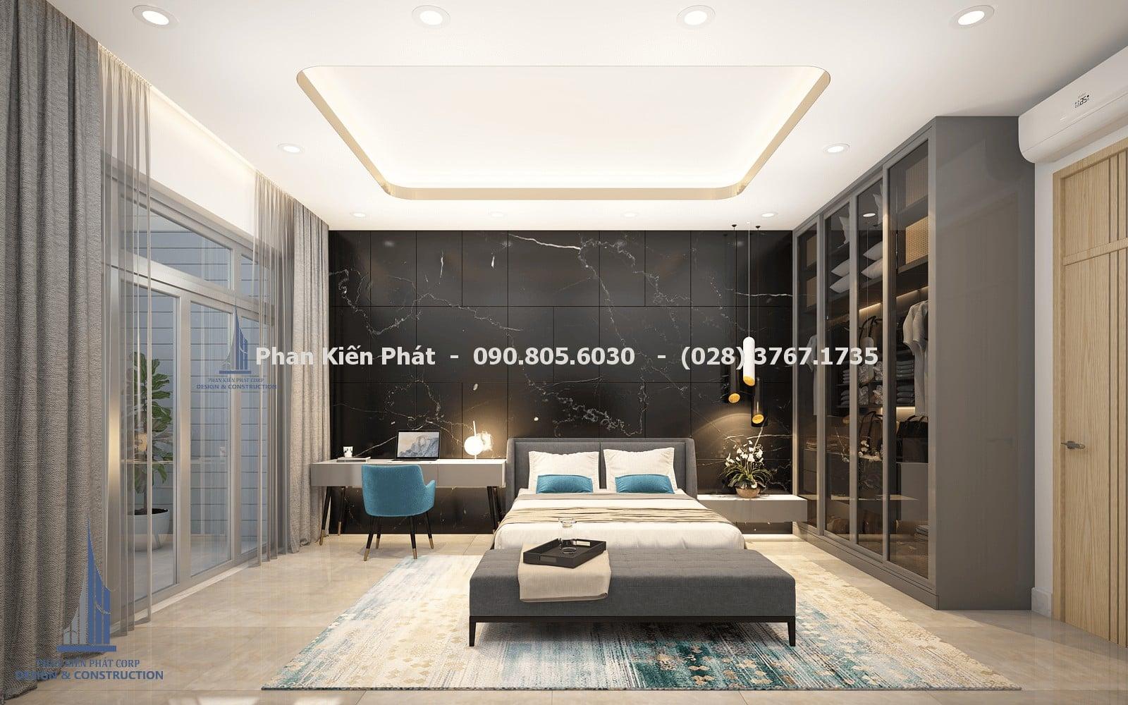 Thiết kế phòng ngủ nam 2 đẹp với mẫu biệt thự phố 5 tầng góc 1
