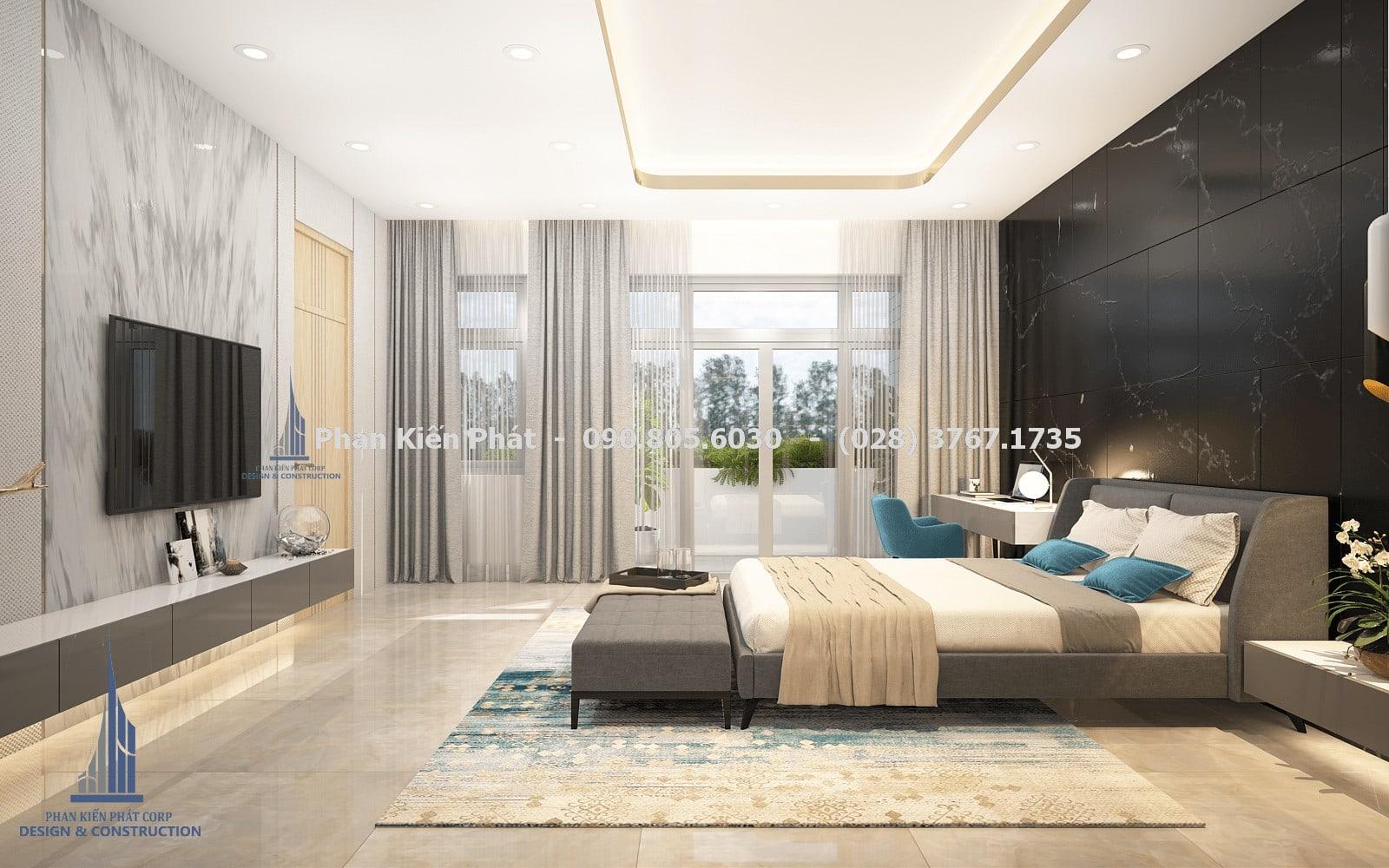 Thiết kế phòng ngủ nam 2 đẹp với mẫu biệt thự phố 5 tầng góc 2