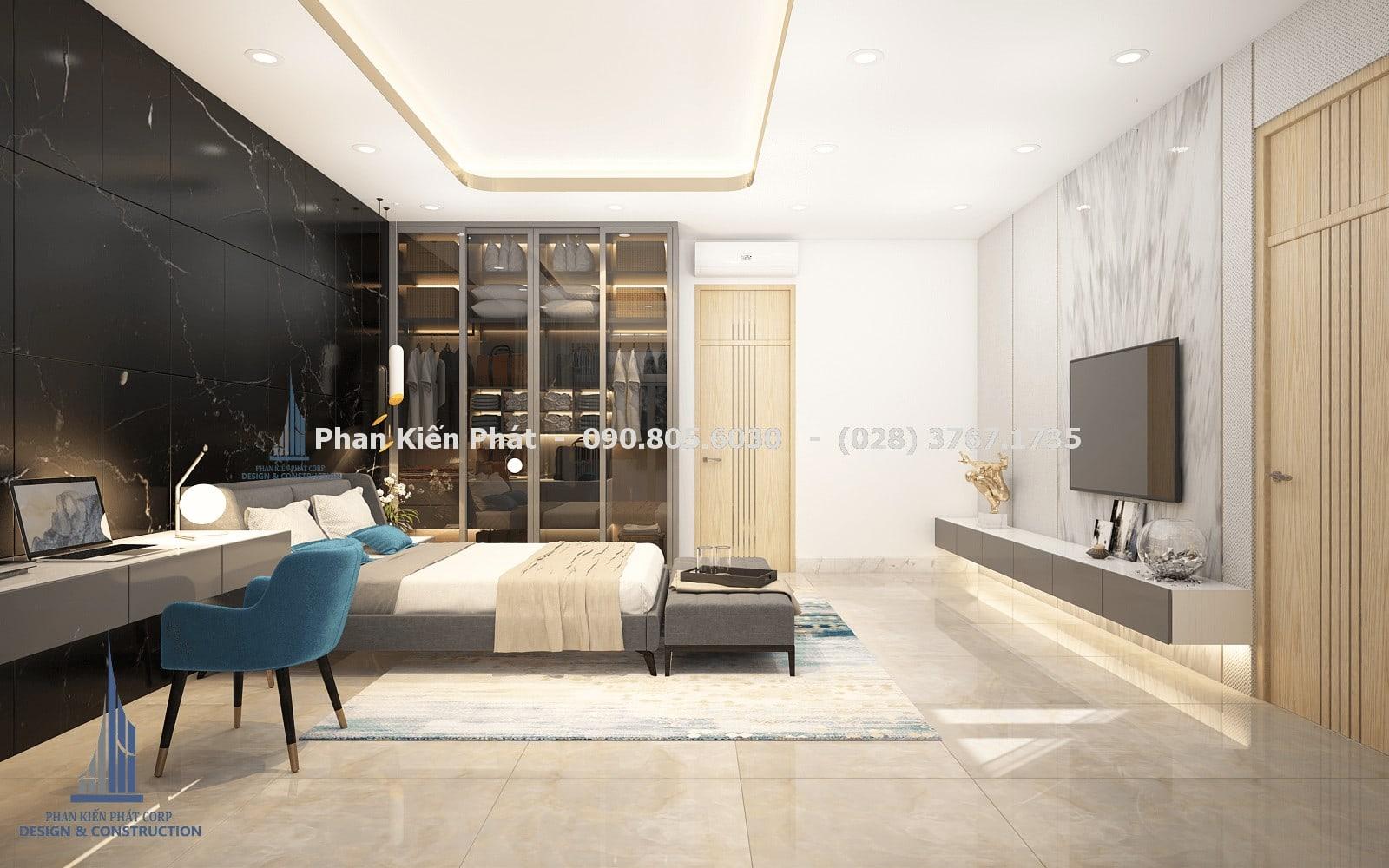 Thiết kế phòng ngủ nam 2 đẹp với mẫu biệt thự phố 5 tầng góc 3