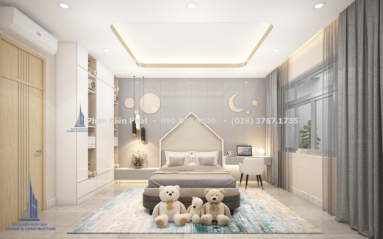 Phòng ngủ dành cho con gái với tông màu xám trắng trong thiết kế biệt thự phố góc 1