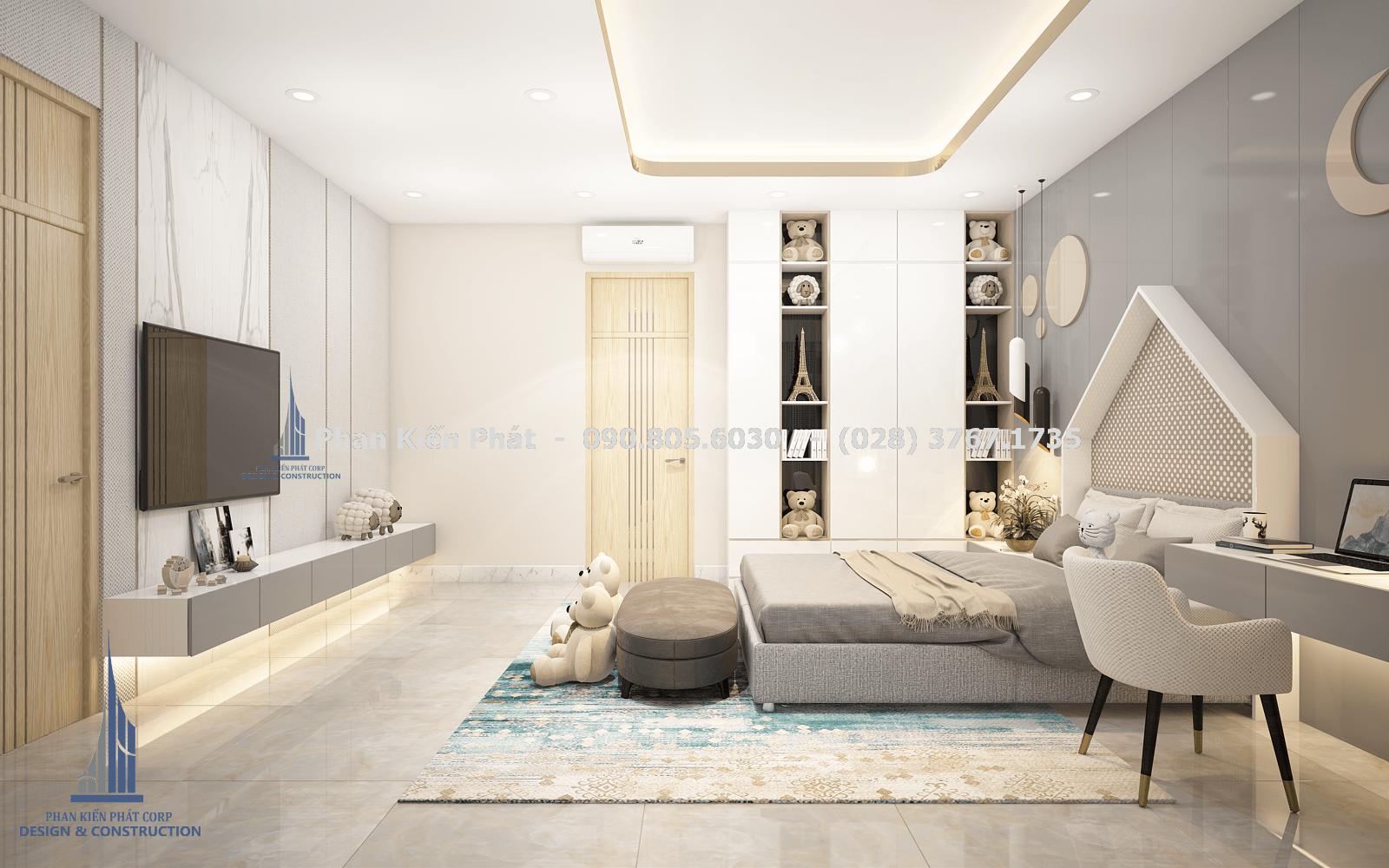 Phòng ngủ dành cho con gái với tông màu xám trắng trong thiết kế biệt thự phố góc 2