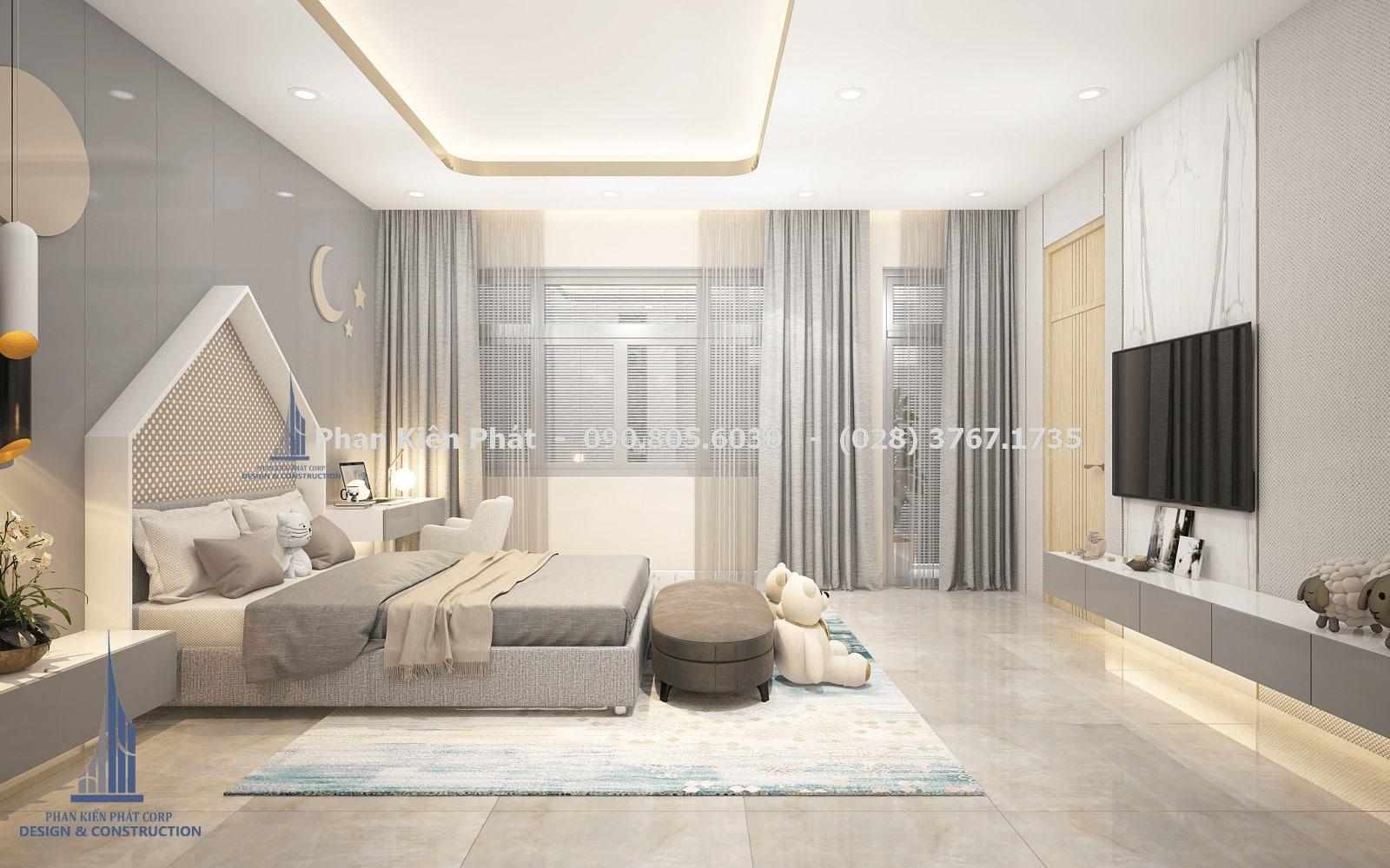 Phòng ngủ dành cho con gái với tông màu xám trắng trong thiết kế biệt thự phố góc 3