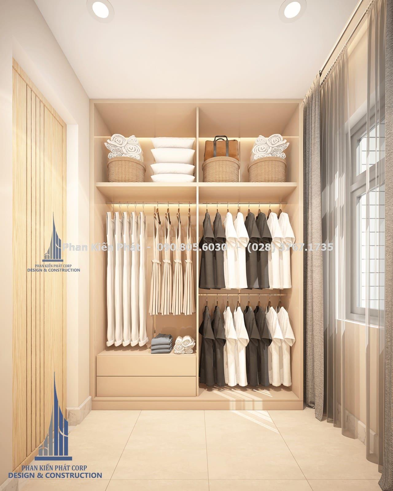 Phòng thay đồ dành cho master biệt thự phố