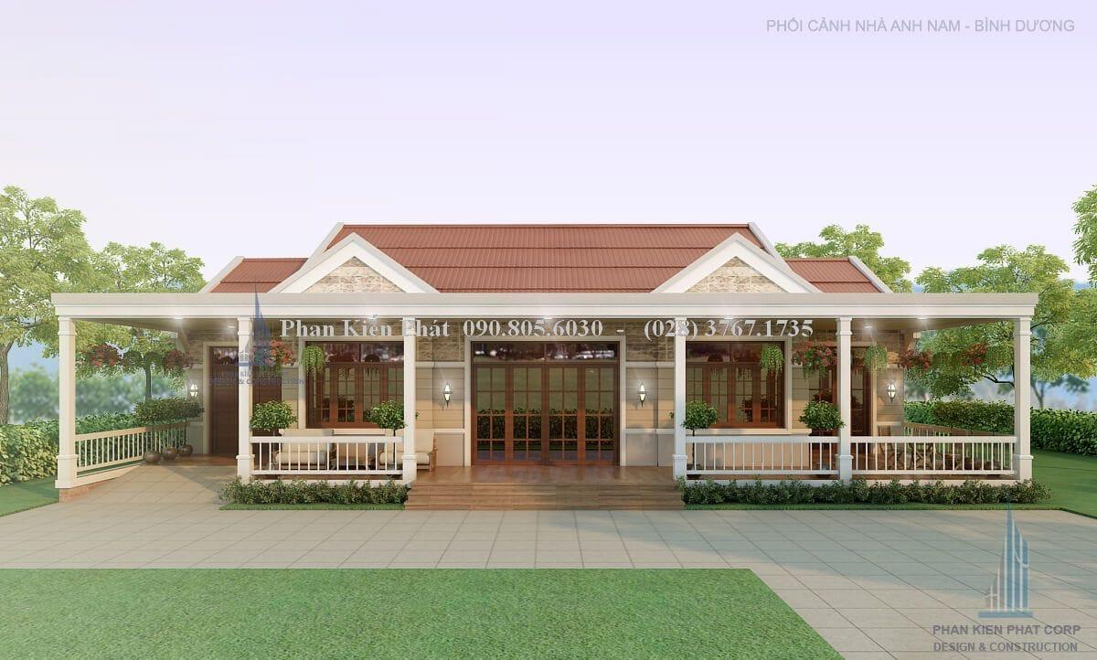 Thiết kế nhà cấp 4 mái đẹp với diện tích 20x12m