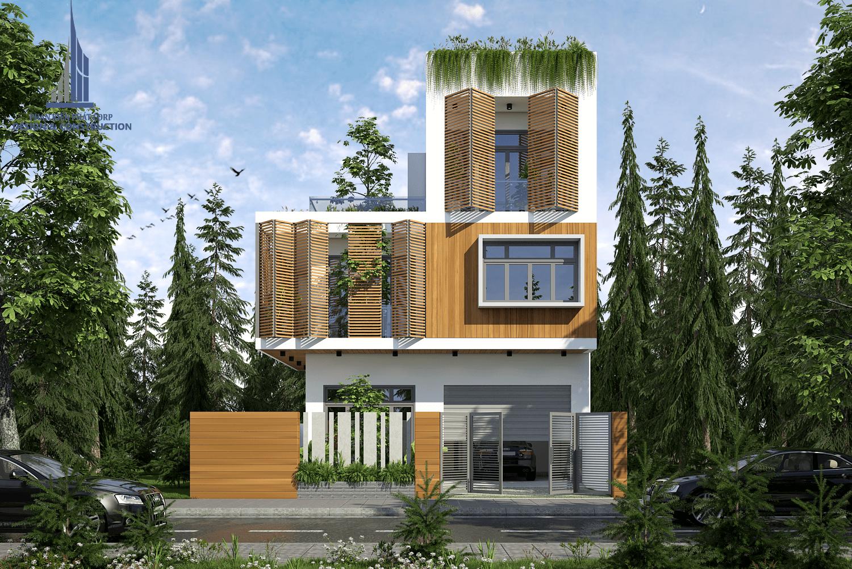 Ngôi nhà được thiết kế vô cùng an toàn với hệ lam mở bao bọc, mang được ánh sáng tự nhiên và gió trời cho ngôi nhà phố