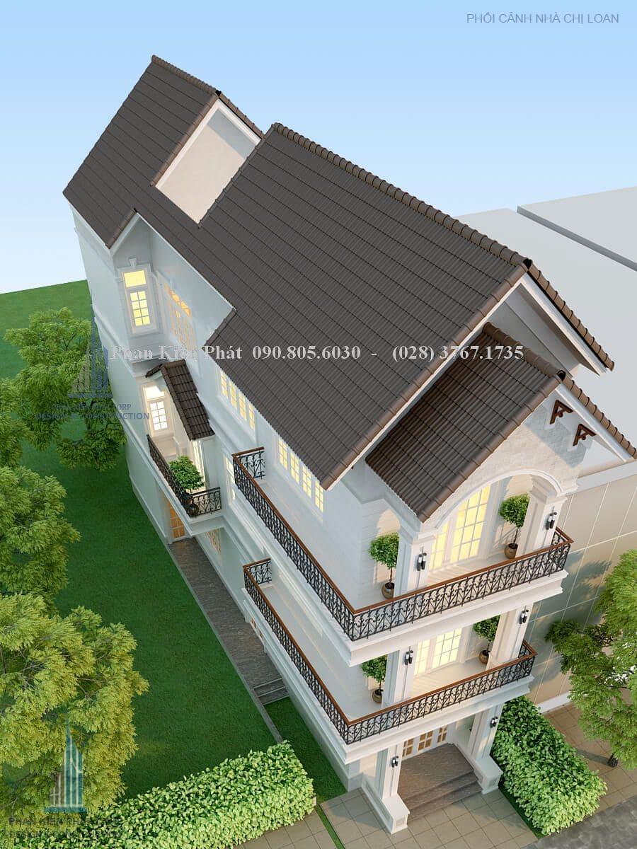 Thiết kế nhà phố mái thái đẹp 1 trệt 2 lầu nhìn từ trên xuống