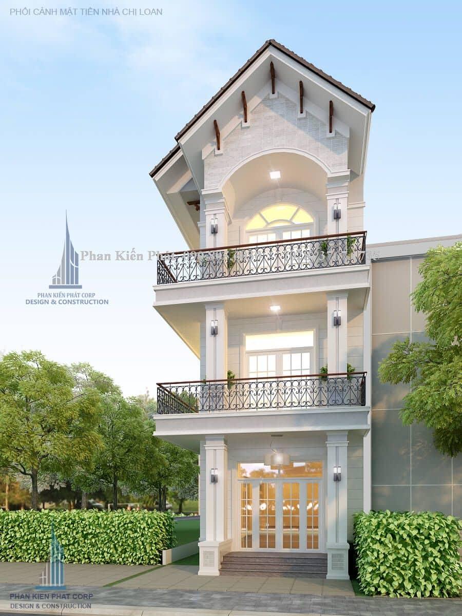 Mặt tiền mẫu nhà 1 trệt 2 lầu mái thái đẹp từ góc nhìn chính diện