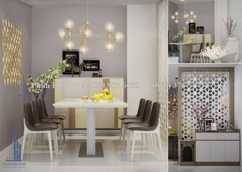 Nội thất phòng ăn kết hợp với phòng bếp hiện đại view 1