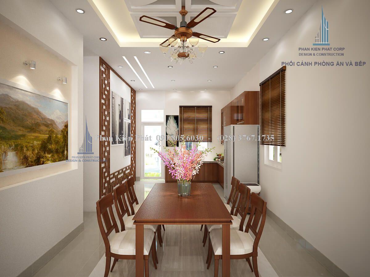 Thiết kế nội thất phòng bếp - ăn mẫu nội thất nhà cấp 4 mái thái view 2