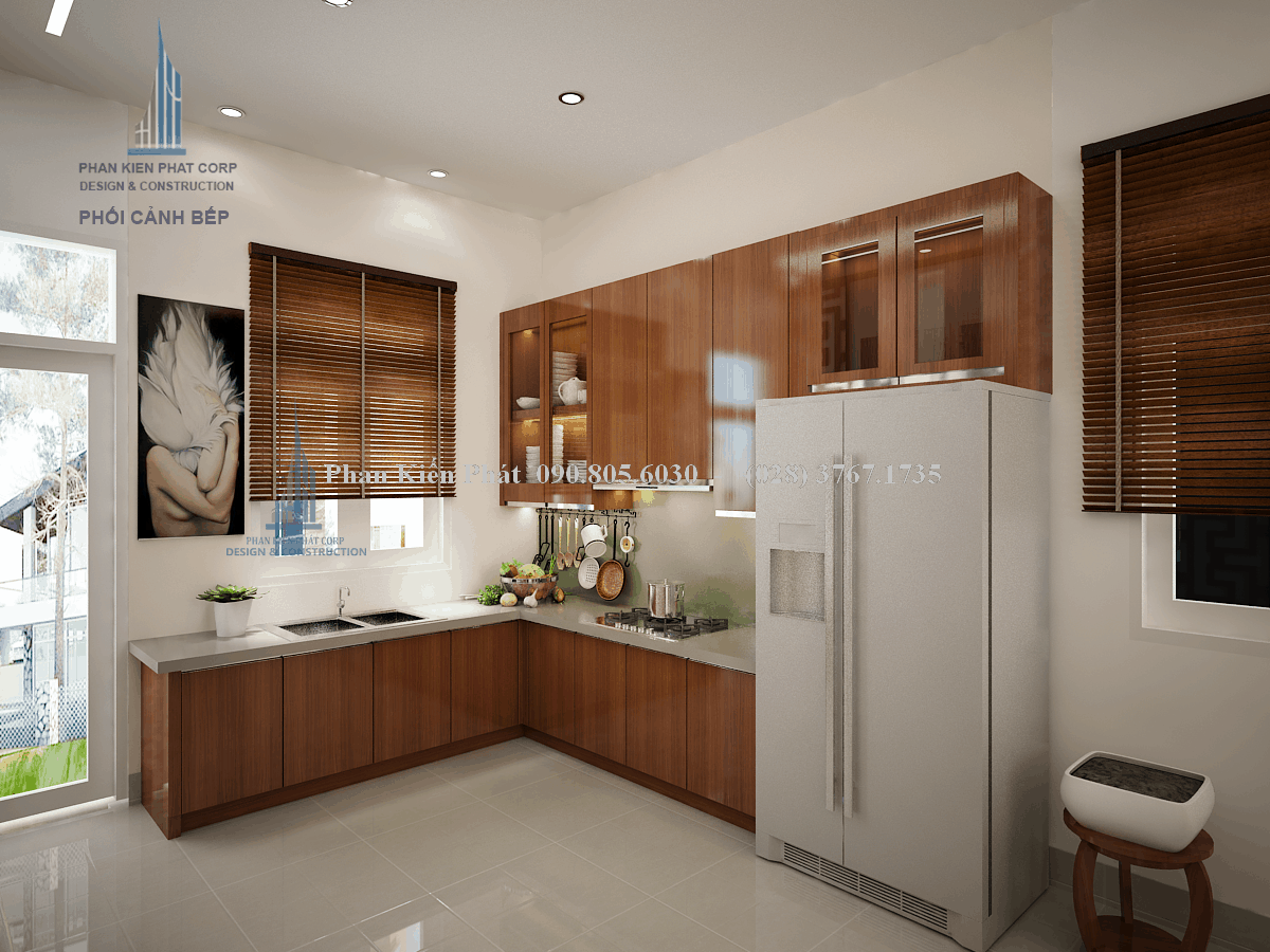 Thiết kế nội thất phòng bếp - ăn mẫu nội thất nhà cấp 4 mái thái view 1