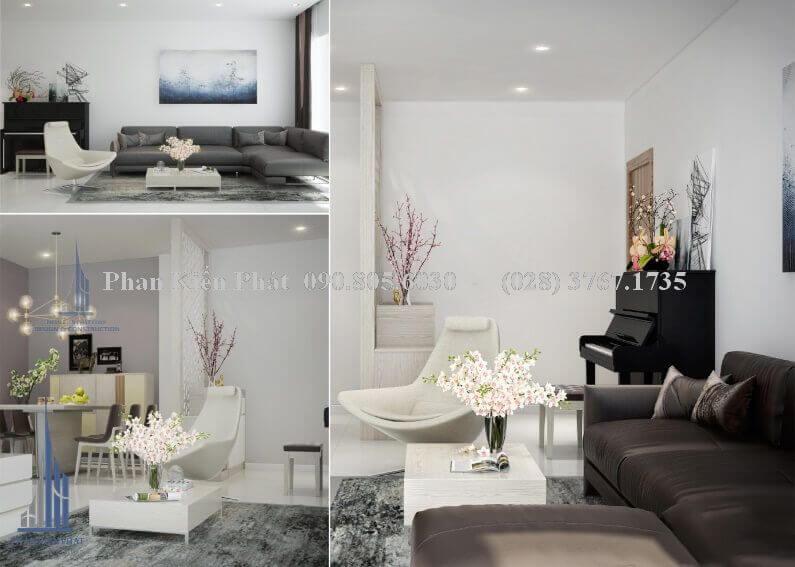 Thiết kế nội thất phòng khách đẹp nhà phố view 2