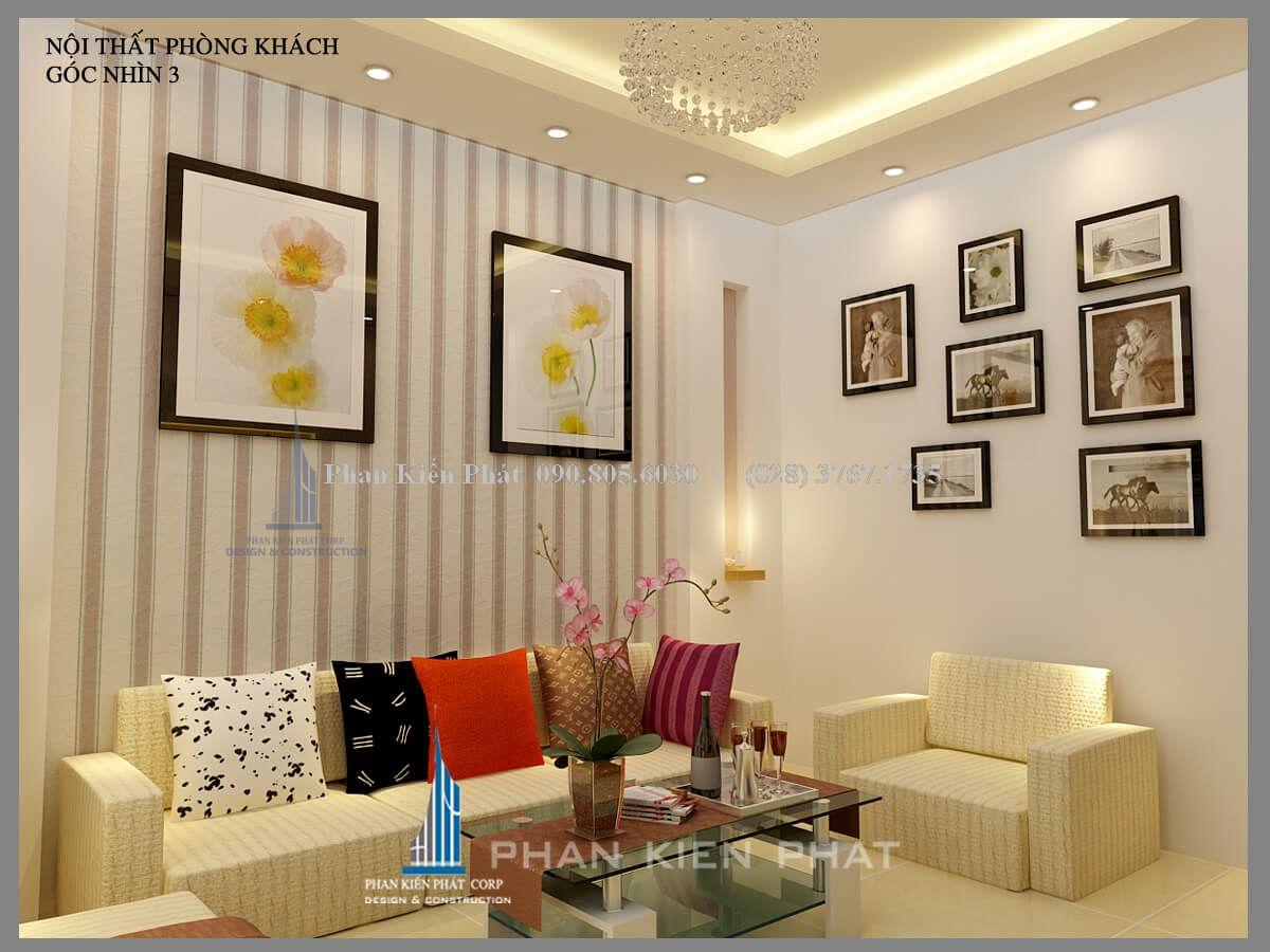 Ánh sáng vàng kết hợp hài hòa với màu sắc nội thất nhà phố cổ điển
