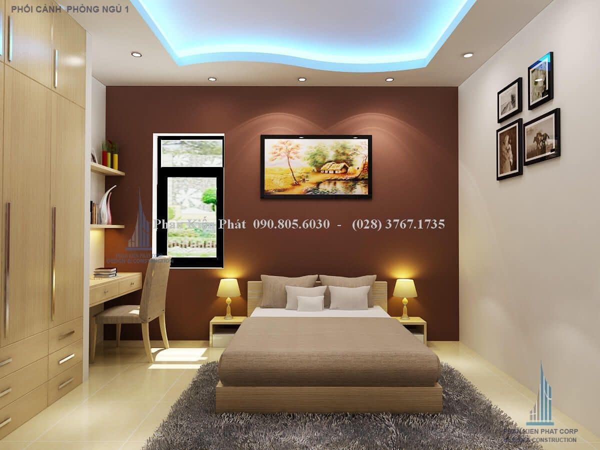 Phối cảnh phòng ngủ biệt thự mini mái thái
