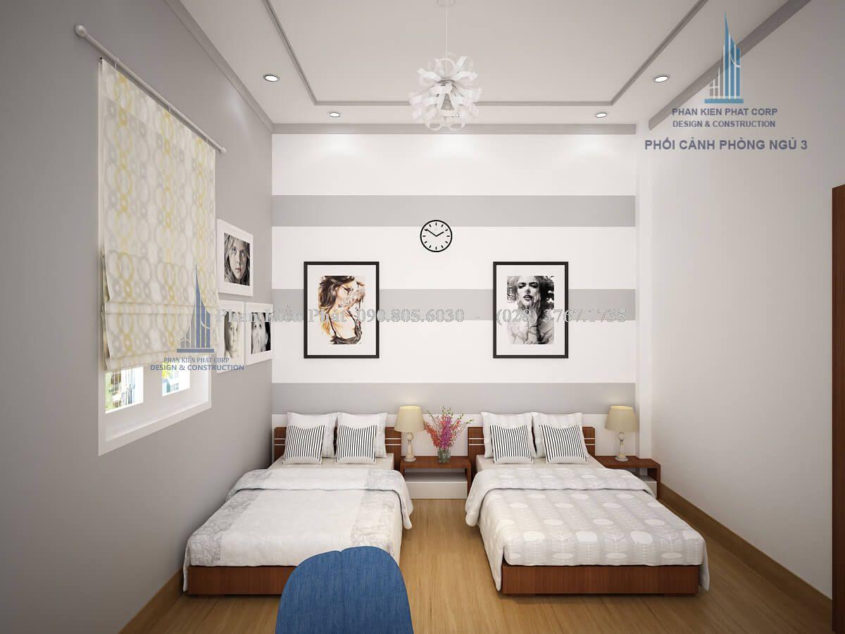 Thiết kế nội thất phòng ngủ 2 giường view 1