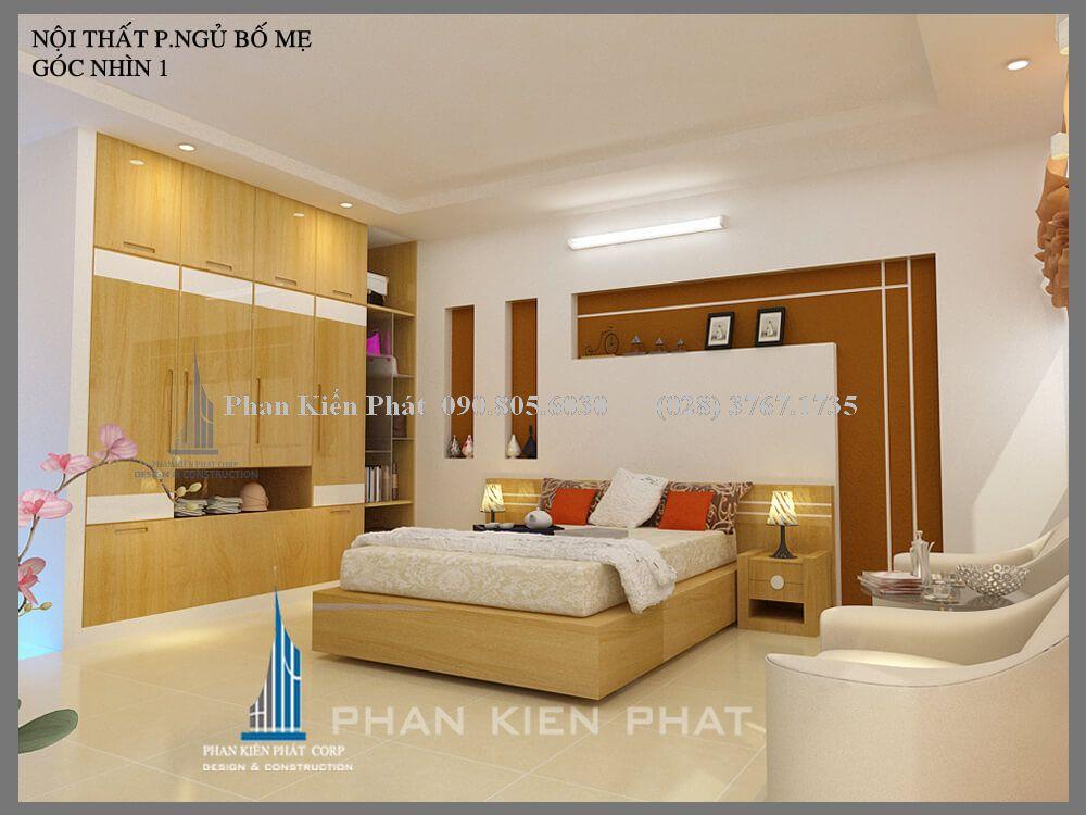 Phòng ngủ bố mẹ nhà phố 1 trệt 3 lầu view 1