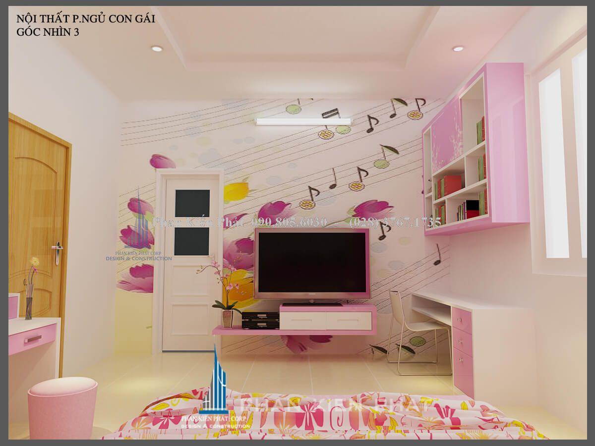 nội thất phòng ngủ con gái nhà phố hiện đại