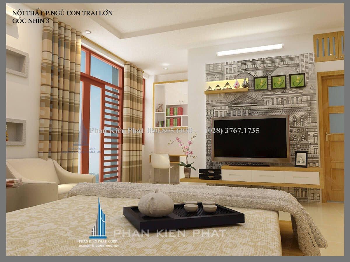 nội thất phòng ngủ con trai lớn nhà phố hiện đại