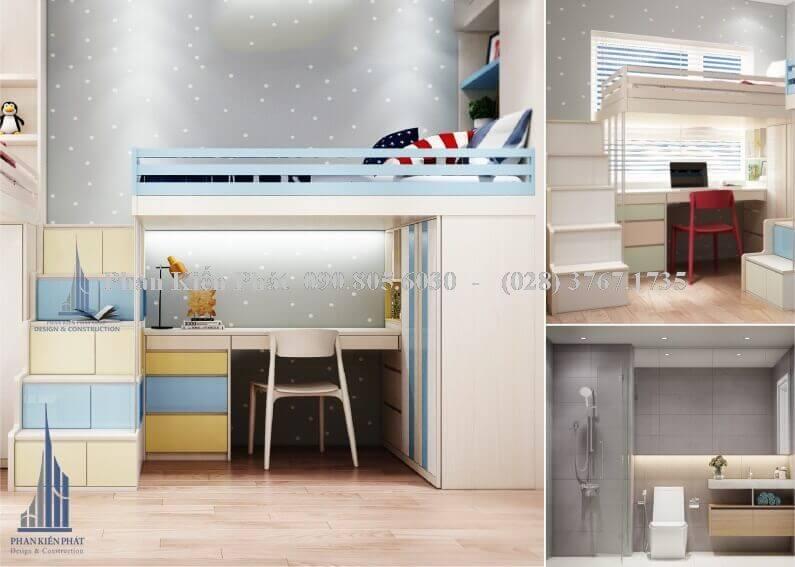 Giường tầng phía trên kết hợp bàn học và giá sách ở bên dưới