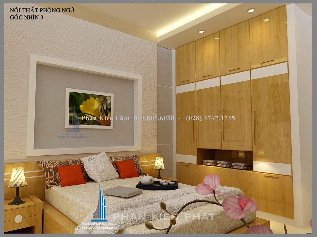 Nội thất phòng ngủ được làm bằng chất liệu gỗ