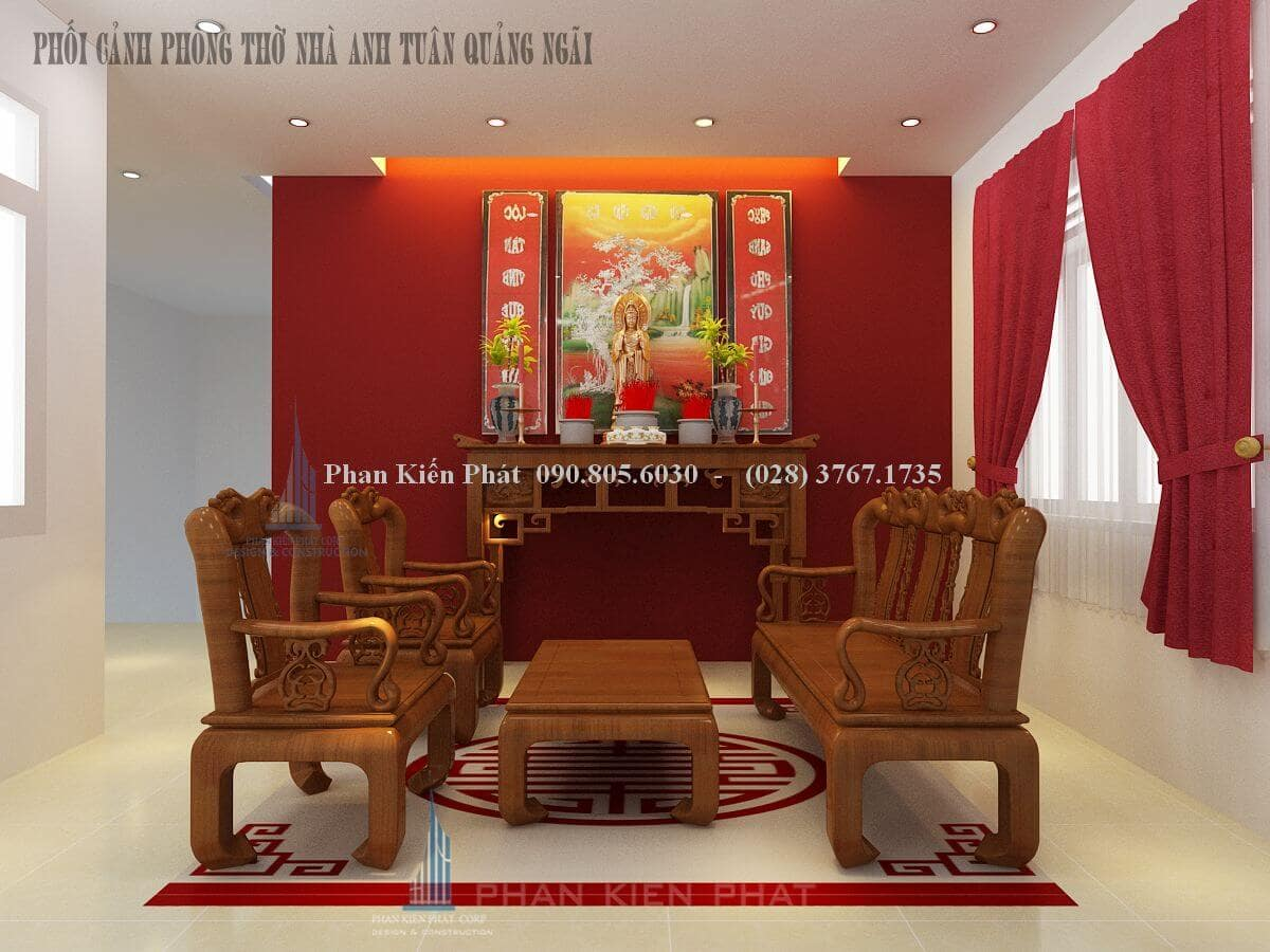 Thiết kế nội thất phòng thờ biệt thự phố