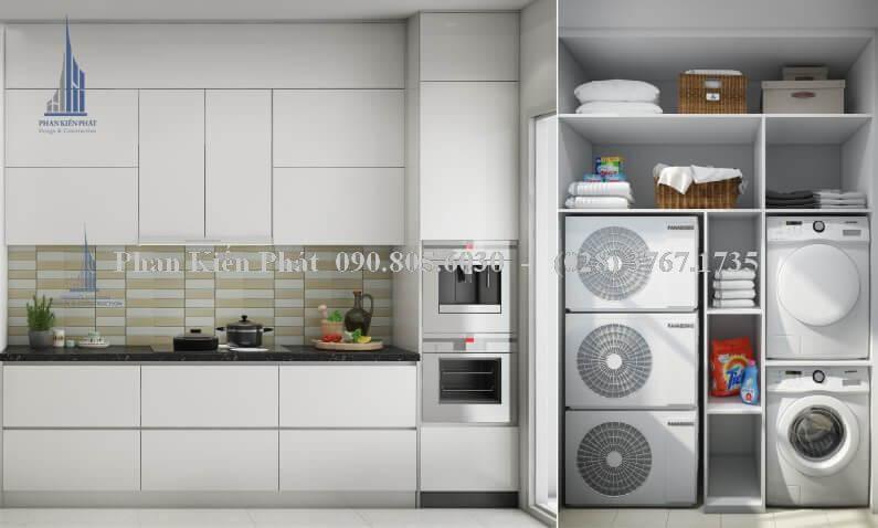 Nội thất phòng ăn kết hợp với phòng bếp hiện đại view 3
