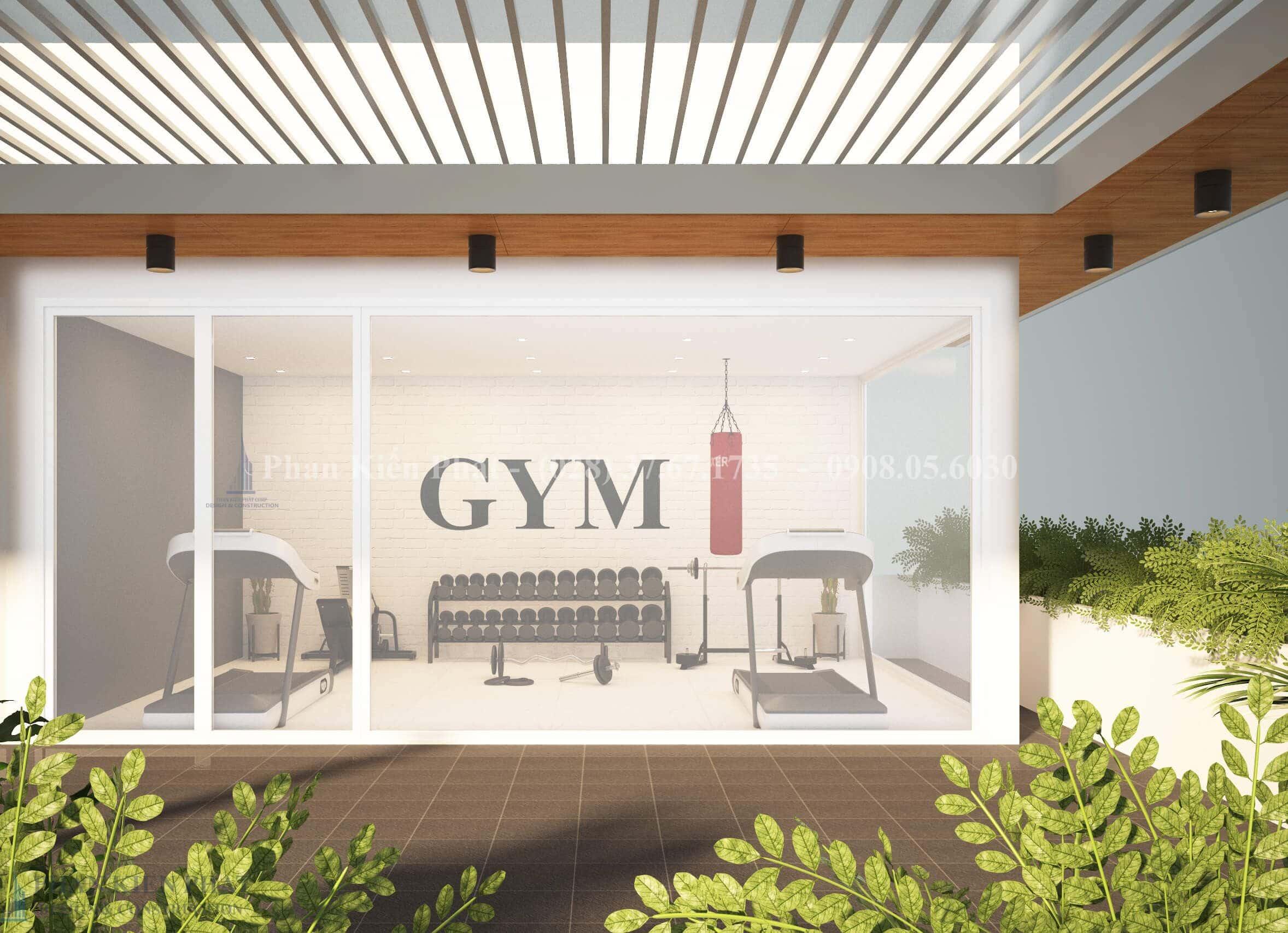 Thiet Ke Phong Tap Gym View 1-biệt thự 4 tầng có hồ bơi