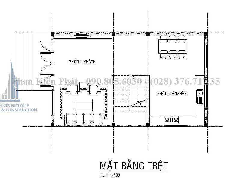 Bản vẽ tầng 1 trong mẫu thiết kế biệt thự 4 tầng hiện đại