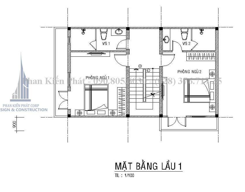 Bản vẽ tầng 2 trong mẫu thiết kế biệt thự phố 4 tầng