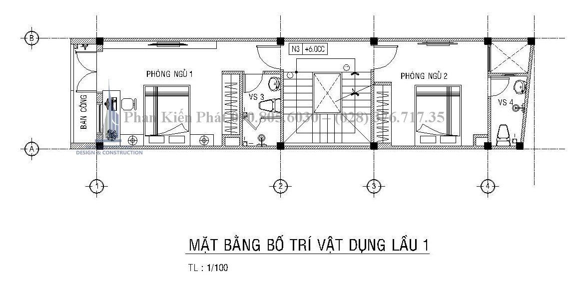 Bố trí mặt bằng lầu 1 của mẫu thiết kế nhà phố 1 trệt 3 lầu