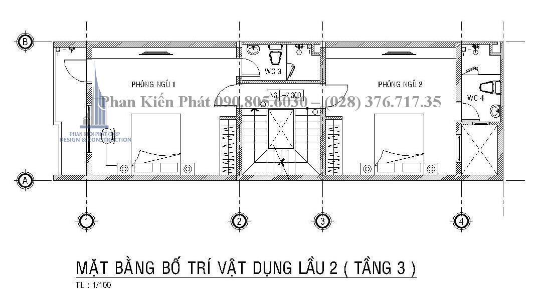mặt bằng lầu 2 mẫu thiết kế nhà phố kết hợp kinh doanh