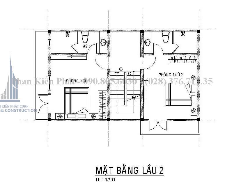 Bản vẽ tầng 3 trong mẫu thiết kế biệt thự phố 4 tầng