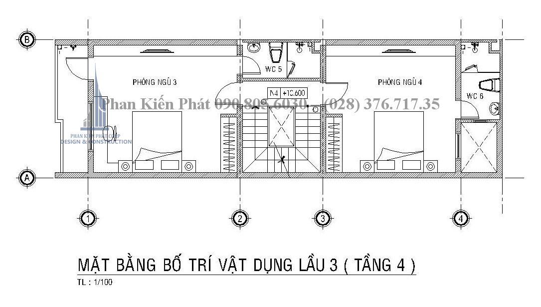 mặt bằng lầu 3 mẫu thiết kế nhà ống kết hợp kinh doanh