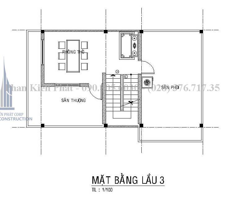 Bản vẽ tầng 4 trong mẫu thiết kế biệt thự phố 4 tầng