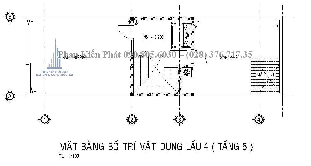 mặt bằng lầu 4 mẫu thiết kế nhà ống kết hợp kinh doanh