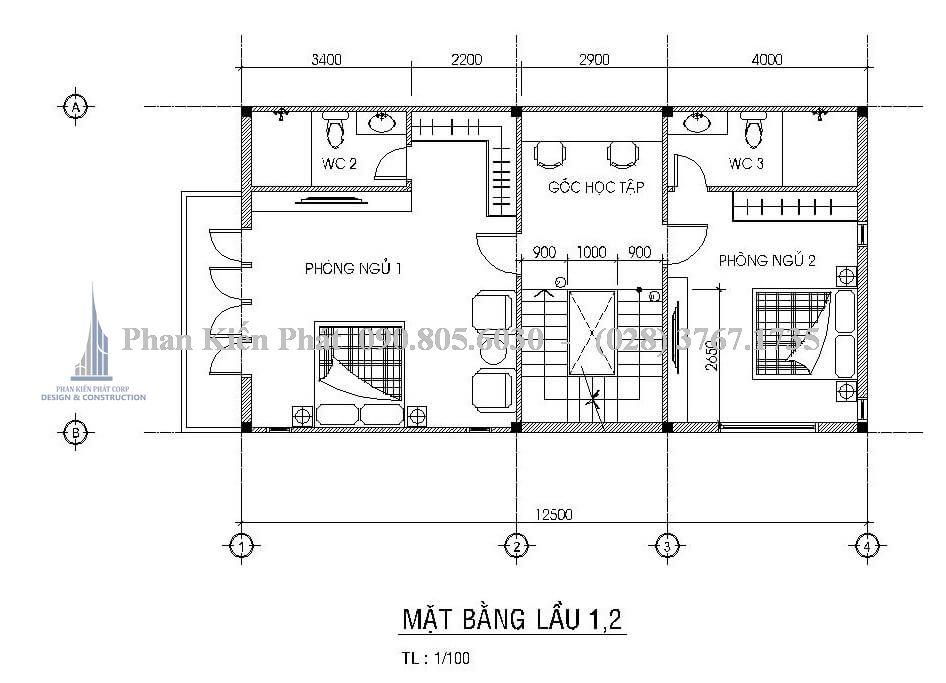 Mặt bằng lầu 1, 2 trong mẫu thiết kế biệt thự mái thái đẹp
