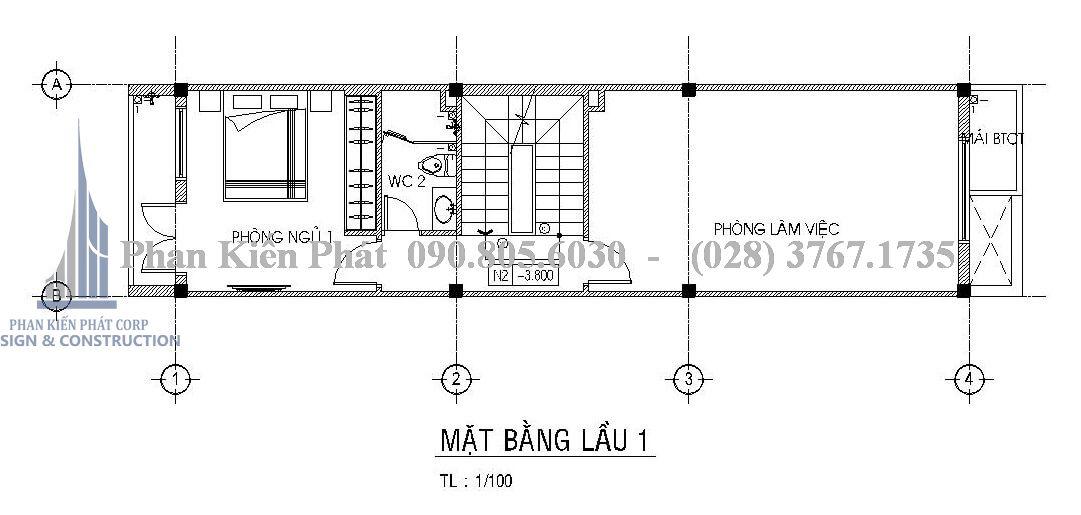 Đây là bản vẽ mặt bằng lầu 1 của nhà phố hiện đại 4 tầng
