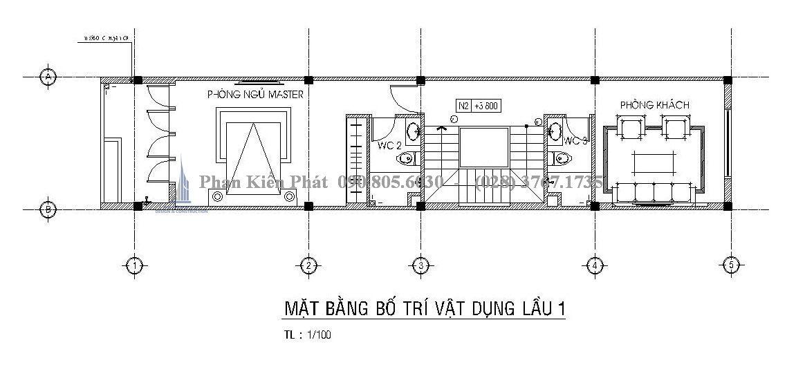 Bố trí mặt bằng tầng 2 mẫu thiết kế nhà ống 4 tầng đẹp trên diện tích 4x18m