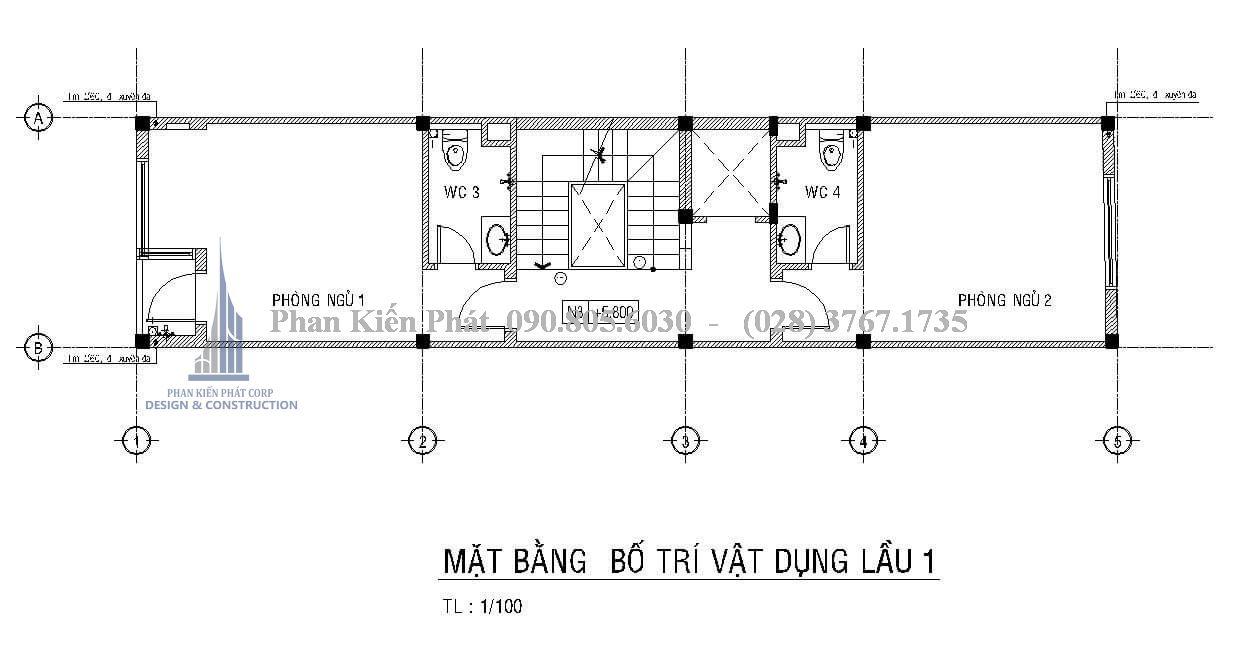 Mặt bằng công năng lầu 1 của mẫu thiết kế nhà phố 1 trệt 3 lầu hiện đại