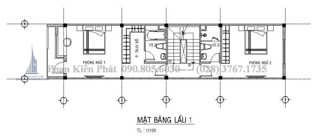 Mặt bằng tầng 2 - Mẫu thiết kế nhà phố 5 tầng kết hợp với kinh doanh