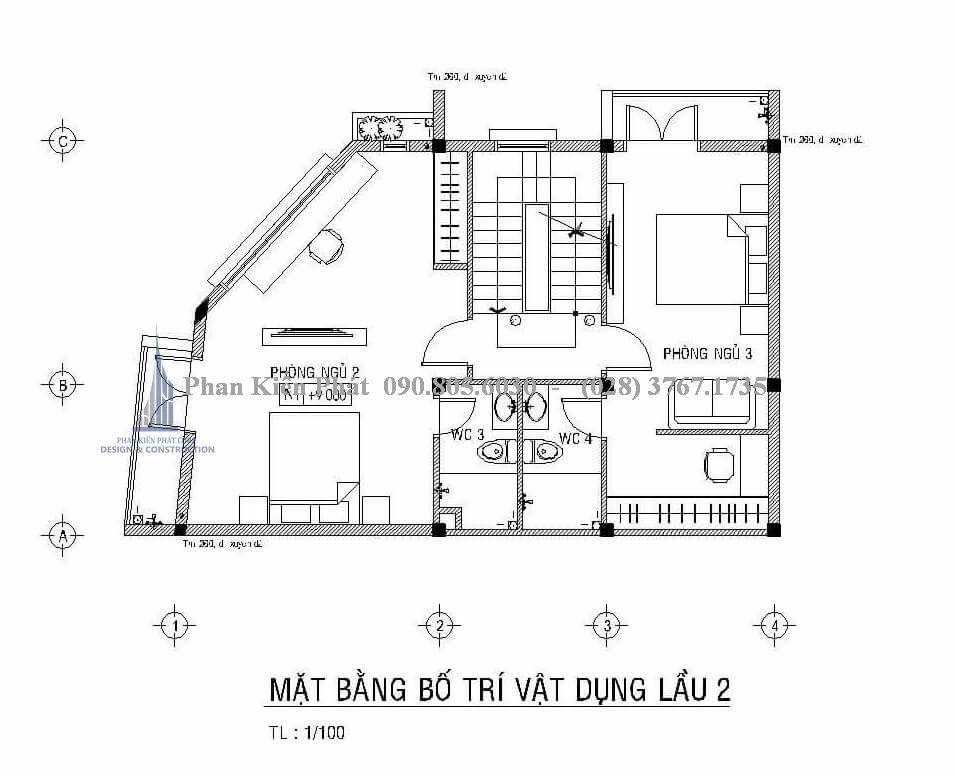 Mặt bằng lầu 2 của mấu thiết kế nhà phố kết hợp phòng trọ cho cho thuê
