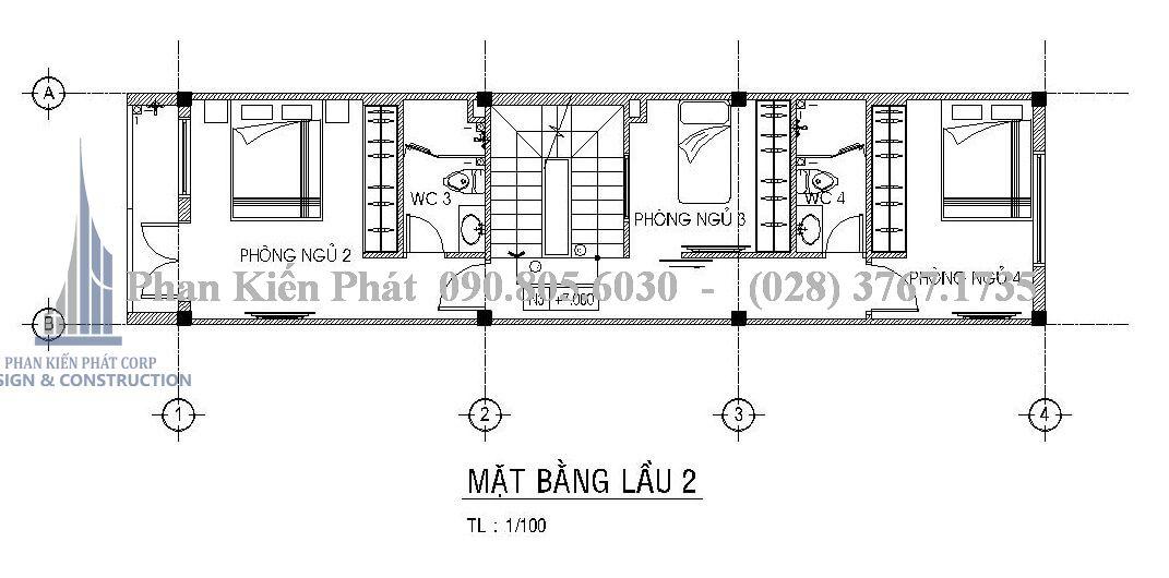 Mặt bằng lầu 2 bao gồm 3 phòng ngủ