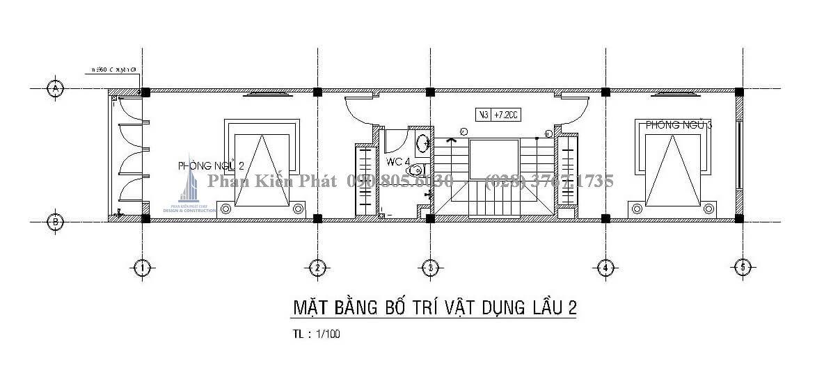 Bố trí mặt bằng tầng 3 mẫu thiết kế nhà ống 4 tầng đẹp trên diện tích 4x18m