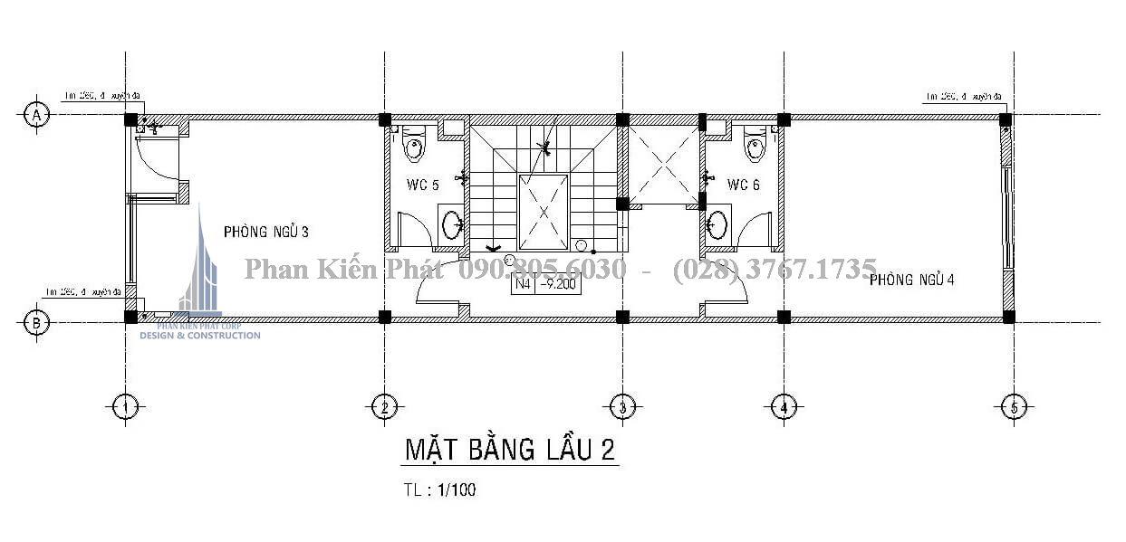 Mặt bằng công năng lầu 2 của mẫu thiết kế nhà phố 1 trệt 3 lầu hiện đại