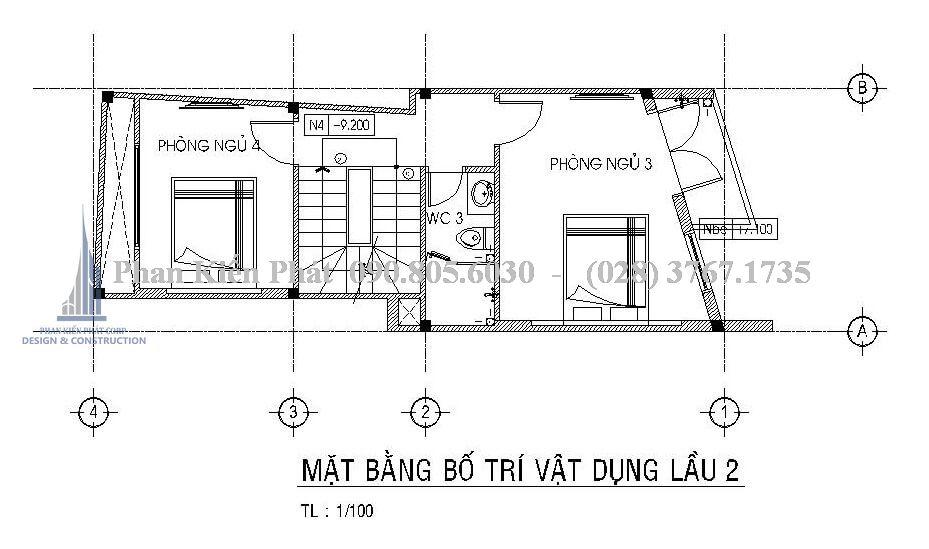 Bản vẽ thiết kế nhà ống kinh doanh tầng 3