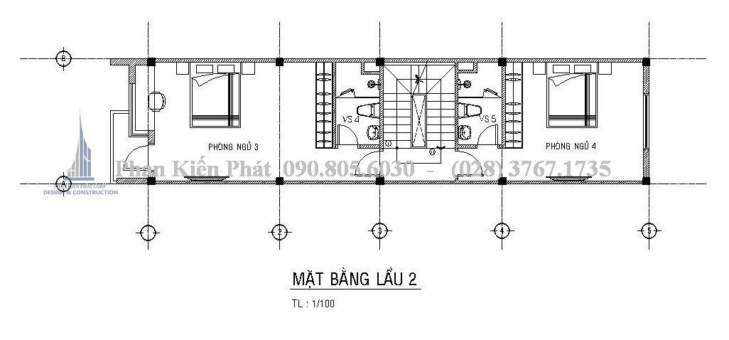 Mặt bằng tầng 3 - Mẫu thiết kế nhà phố 5 tầng kết hợp với kinh doanh